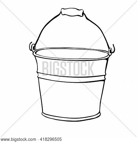 Aluminum Bucket With Handle In Hand Drawn Doodle Style Isolated On White Background. Vector Outline