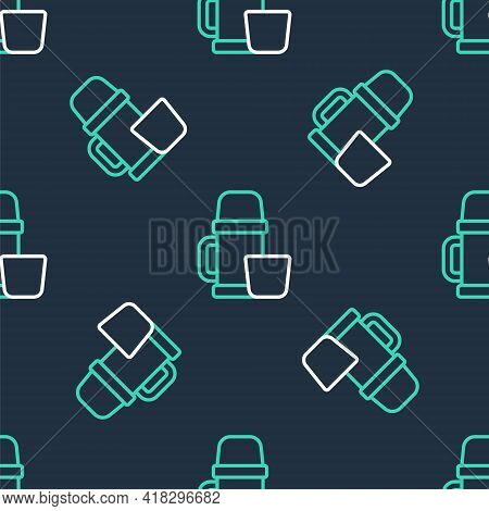 Line Thermos Container And Cup Icon Isolated Seamless Pattern On Black Background. Thermo Flask Icon