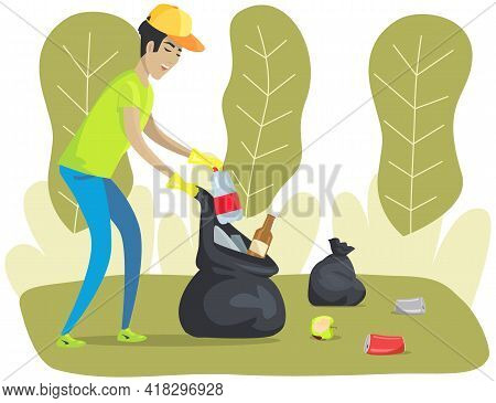 Male Character Cleans Up Garbage In Green Park. Maintaining Forest Clean From Garbage And Trash. Man