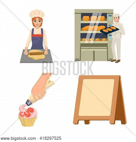 Vector Illustration Of Bakery And Natural Icon. Collection Of Bakery And Utensils Stock Symbol For W