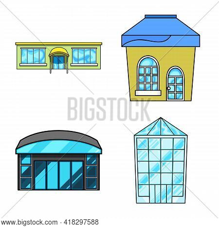 Vector Illustration Of Supermarket And Building Icon. Set Of Supermarket And City Stock Vector Illus