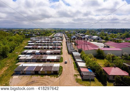Aerial View Of The Dobele City, Car Garages On The Outskirts Of The Residential Area, Latvia