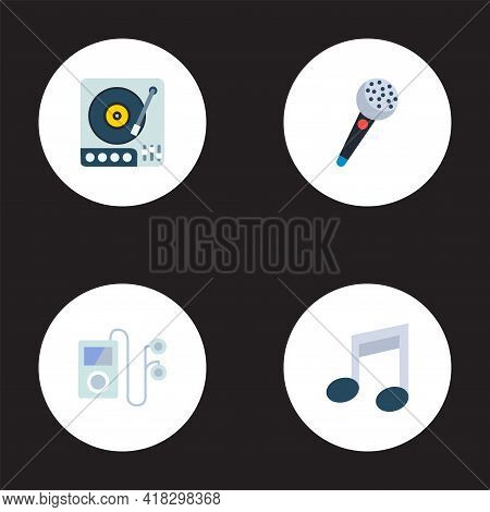 Set Of Melody Icons Flat Style Symbols With Microphone, Gramophone, Audio Device And Other Icons For