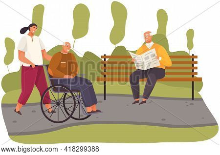 Woman Rolls Old Man In Wheelchair. Grandfather Walks And Sits In Disabled Carriage In City Park. Gir
