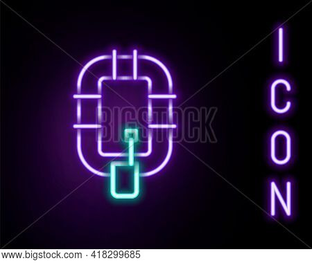 Glowing Neon Line Inflatable Boat Icon Isolated On Black Background. Rafting Boat. Water Sports, Ext
