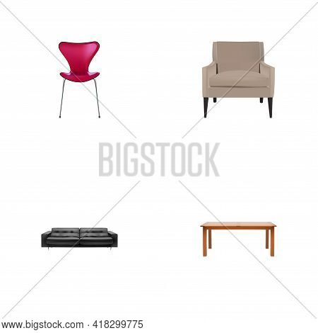 Set Of Design Realistic Symbols With Lounge, Furniture, Armchair And Other Icons For Your Web Mobile