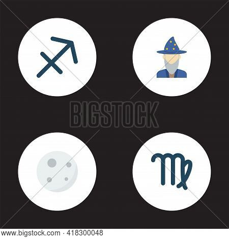 Set Of Astrology Icons Flat Style Symbols With Sagittarius, Astrologer, Virgo And Other Icons For Yo