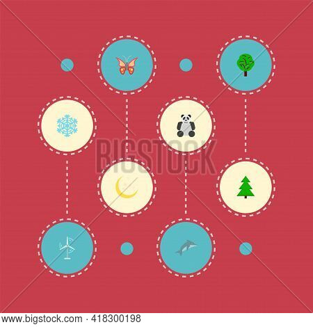 Set Of Environment Icons Flat Style Symbols With Butterfly, Spruce, Snowflake And Other Icons For Yo