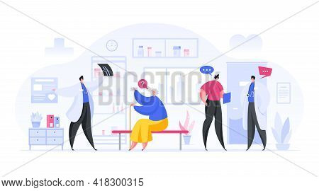 Colorful Vector Illustration Of Male Doctors Discussing Medical Conditions With Patients While Stand