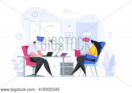 Colorful Vector Illustration Of Male Medical Practitioner Talking With Female Patient And Making Not
