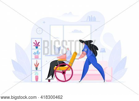 Colorful Vector Illustration Of Cartoon Female Nurse Pushing Wheelchair With Disabled Senior Man Whi