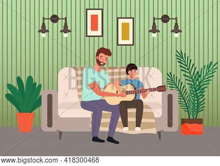 Father Spend Time With His Child. Dad Teaches Son How To Play Guitar. Parent And Kid Happy Together