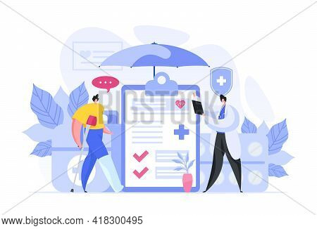 Colorful Vector Illustration Of Male Medical Practitioner With Clipboard Explaining Prescription To