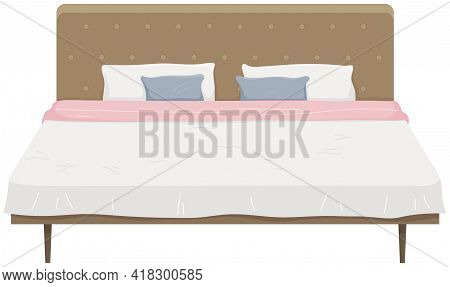 Double Wooden Bed In Flat Design For Bedroom, Hotel Room. Cartoon Furniture Icon Isolated On White B