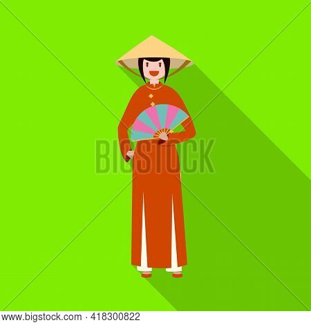 Vector Illustration Of Vietnamese And Woman Sign. Set Of Vietnamese And Girl Stock Vector Illustrati