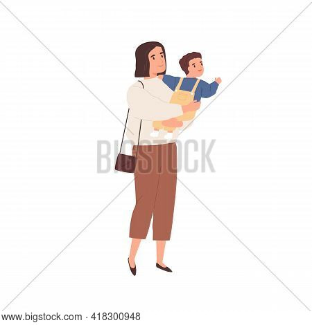 Young Mother Holding Baby In Hands And Walking. Modern Mom Carrying Little Child, Staring And Pointi