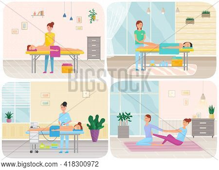 People On Wellness Procedures In Beauty Salon, Massage Parlour And Fitness Room Scenes Set. Woman Do