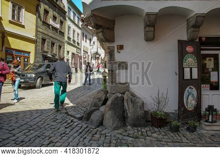 Cesky Krumlov, Czech - April 25, 2012: These Are Boulders On The Street Corner That Protected The Co