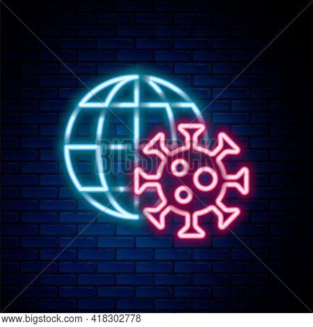 Glowing Neon Line Earth Globe With Virus Icon Isolated On Brick Wall Background. Corona Virus 2019-n