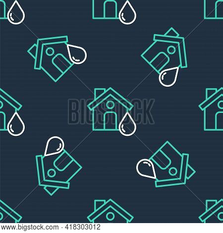 Line House Flood Icon Isolated Seamless Pattern On Black Background. Home Flooding Under Water. Insu