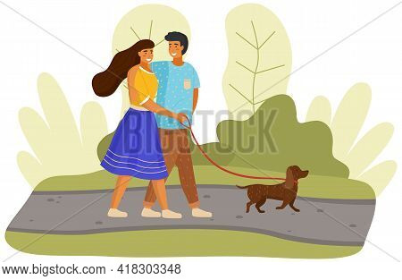 Young People In Sunny Day With Little Dog In City Park. Happy Woman Holds Dog Leash. Outdoor Activit