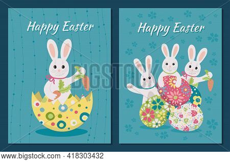 Easter Bunny 2 - Set Of Cards.eps