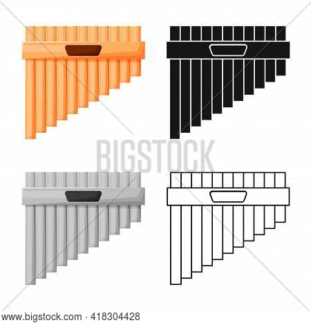 Vector Design Of Flute And Pan Symbol. Web Element Of Flute And Panpipe Stock Vector Illustration.