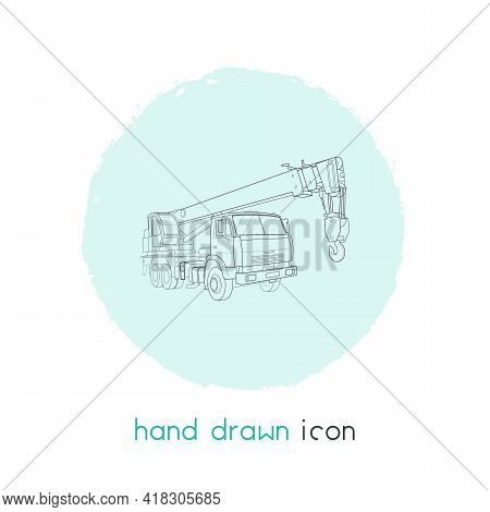 Crane Truck Icon Line Element. Illustration Of Crane Truck Icon Line Isolated On Clean Background Fo