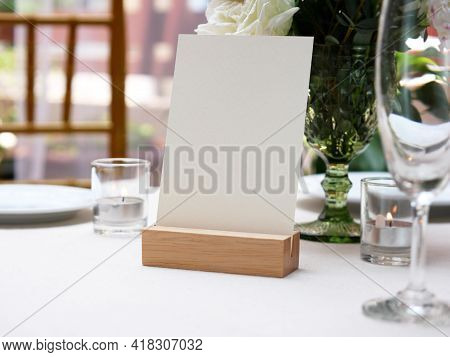 Mockup White Blank Space Card, For Greeting, Table Number, Wedding Invitation Template On Wedding Ta