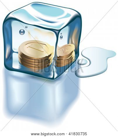 Golden coins frozen into an ice cube. Raster image. Find editable version in my portfolio.