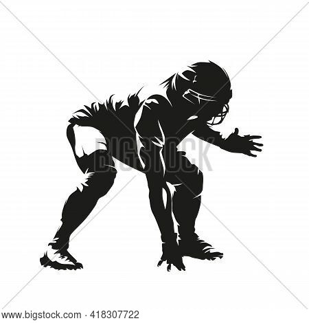 Defensive Football Player, American Football. Isolated Vector Silhouette