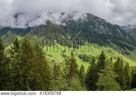 Beautiful Alpine Landscape In Liechtenstein.