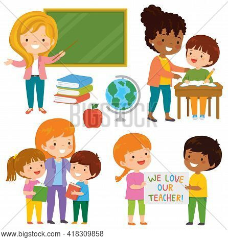Teachers And Kids At School. Cute Happy Teachers And Their Loving Students Learning Together In The