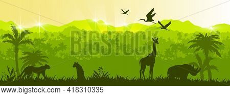 Jungle Vector Forest Silhouette Landscape, Green Tropical Nature Background, Leopard, Giraffe, Rhino