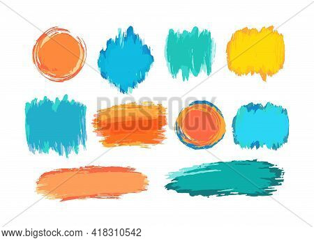 Hand Drawn Vector Brush Strokes Backgrounds. Color Paint Spots, Watercolor Brushstroke Set. Acryl Ar