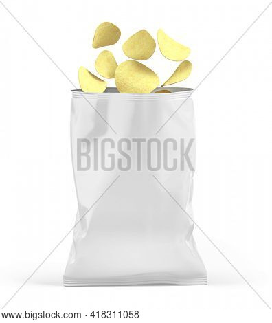 Blank open snack white package bag. Chips packaging isolated on white beckground. 3d rendering mockup template