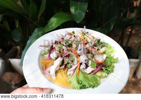 Spicy Salad Or Spicy Squid Salad , Thai Food