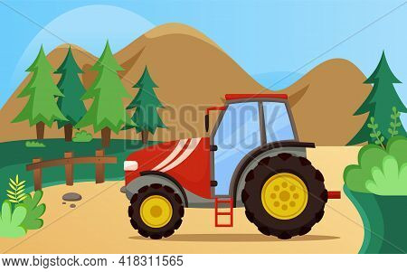 Farming And Agriculture Background With Tractor. Agricultural Transport For Plowing Fields. Vehicle