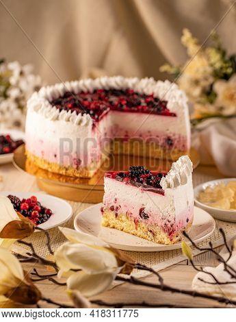 Still Life Of Wild Berries Cake, Still Life Composition