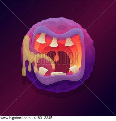Comic Monster Mouth With Teeth And Flowing Saliva, Flat Vector Illustration.