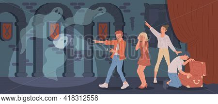People In Quest Escape Room Searching For Treasures, Flat Vector Illustration.