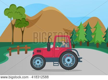 Farming And Agriculture Concept With Tractor. Man Driving Transport For Plowing Fields. Agricultural