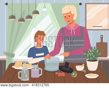 Male Characters Preparing Smoothie In Blender. Proper Nutrition, Healthy Lifestyle And Vegetarianism