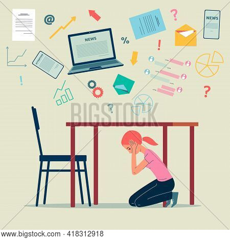 Woman In Panic Hiding From News Flow, Flat Vector Illustration Isolated.