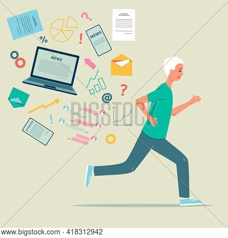Worried Man Escaping Of News Stream, Cartoon Flat Vector Illustration Isolated.