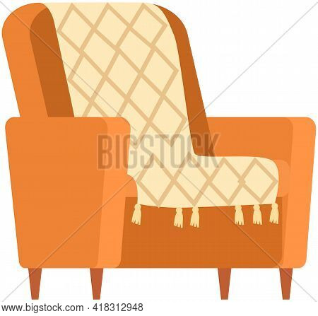 Armchair In Retro Cream Color. Modern Soft Armchair With Upholstery Of Striped Cloth. Living Room Fu