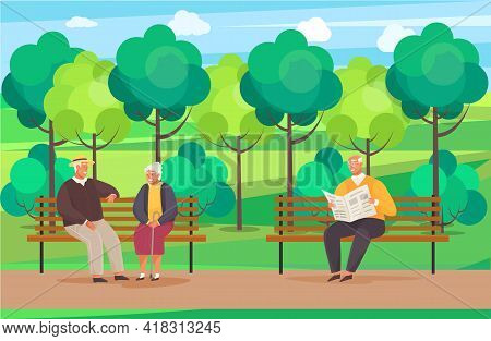 Elderly Man Sitting On Bench In Park Reading Newspaper And Enjoying Leisure In Retirement. Pensioner