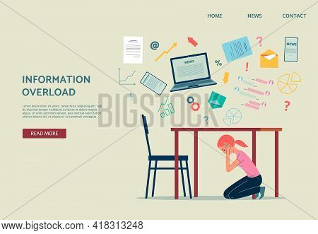 Website With Woman Hiding From Information Overload, Flat Vector Illustration.