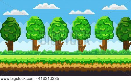 Pixel-game Background. Pixel Art Game Scene With Green Grass And Tall Trees Against Blue Sky With Cl