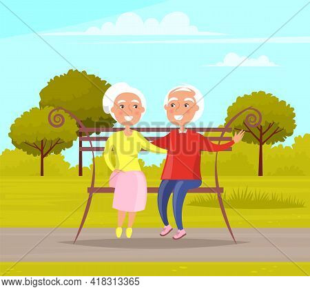 Couple Spend Time In Park Sitting On A Bench. Romance Of Elderly People On Date. Characters In Happy